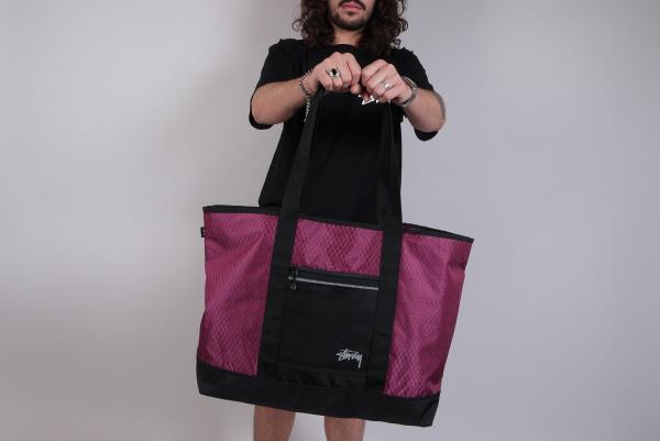 Stussy Diamond Ripstop Tote Bag berry