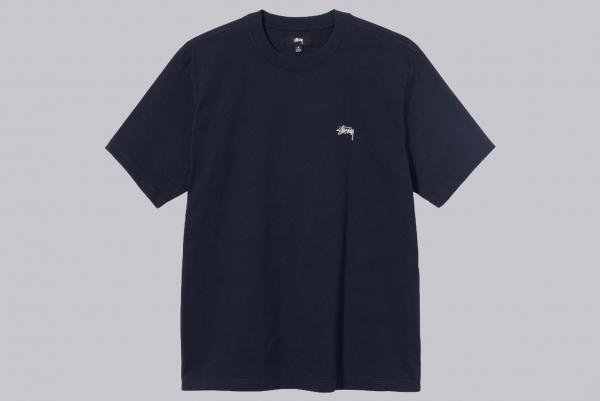 Stussy Stock Logo Ss Crew Shirt navy
