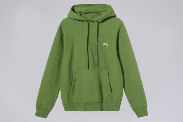 Stussy Stock Logo Overdyed Hood green